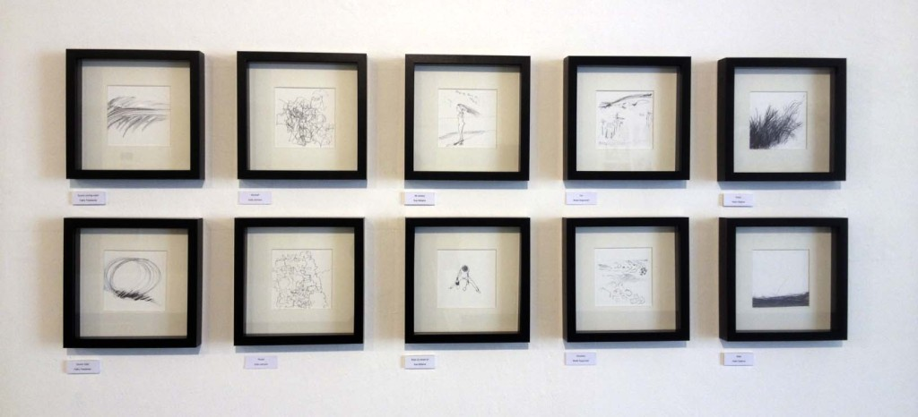 Drawings from Walk and Draw case studies exhibited in 'Drawing In Between', Howard Gardens Gallery, July 2013